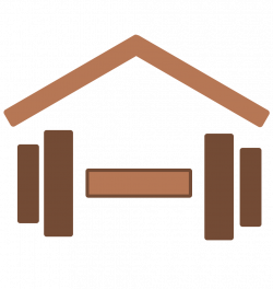 Dumbell under house icon